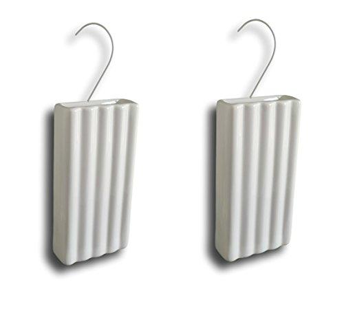 Keramische luchtbevochtiger verdamper waterverdamper voor verwarming radiator vlakverdamper wit gegroefd met hanger (hoeveelheid: 2)