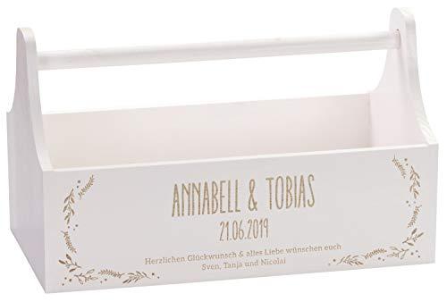 LAUBLUST Gschenkkorb zur Hochzeit Floral Motiv - Personalisiert mit Gravur - ca. 34x18x20cm, Weiß, Holz, FSC®