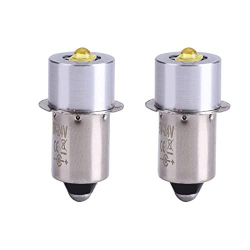 Paquete de 2 bombillas de linterna, P13.5S 6-24 V Bombilla de repuesto de linterna de alto brillo, Pieza de repuesto de bombilla de linterna LED de 5 W, fácil de instalar