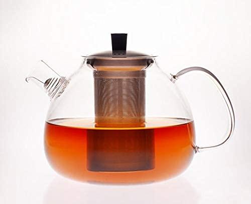 Hanseküche Premium Teekanne 1500 ml Glas Teebereiter - Sehr hitzebeständige Teekanne, Glaskanne, Teebereiter aus Borsilikatglas - Abnehmbares und entfernbares Edelstahl Sieb und Auffangdraht