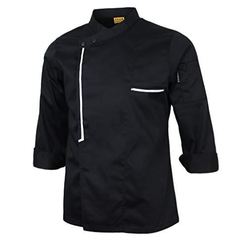 chiwanji Langarm Kochjacke Bäckerjacke Kochkleidung Gastronomie Jacke Hemd Gastronomiejacke Arbeitsjacke Chefkoch Berufsbekleidung - Schwarz, XL