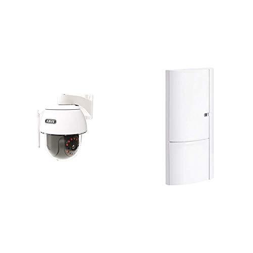 ABUS Dome-Außenkamera PPIC32520 mit Schwenk und Neigefunktion | Full HD 1080p | weiß & Öffnungsmelder Smartvest für Funk-Alarmanlage | verwendbar an Türen und Fenster | Testsieger | weiß