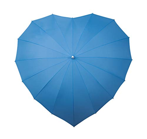 VON LILIENFELD Regenschirm Damen Sonnenschirm Brautschirm Hochzeitsschirm Herz Blau
