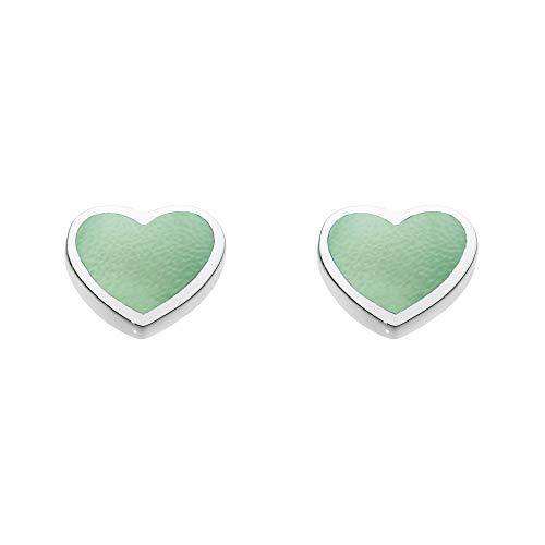 Dew Sterling Silver Dinky Green Mother of Pearl Heart Stud Earrings 3062GMP