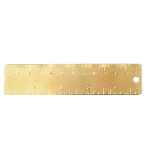 NUOBESTY Regla de latón dorado – Marcapáginas de cobre de metal vintage – Marcas grabadas con en y cm/MM(12 cm)