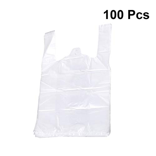 Toyvian Plastiktüte mit Henkel Lebensmittelqualität Kunststoff Lebensmittelverpackung Supermarkt Lebensmittelgeschäft 100St