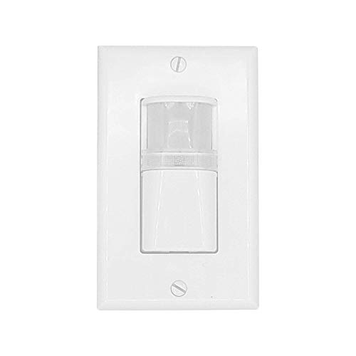 Vacancy Inwall LED Motion Sensor, Manual-ON, Automatic- Off, Adjustable Time Delay, Single Pole Light or Fan Switch Replacement, Neutral Wire Required, White