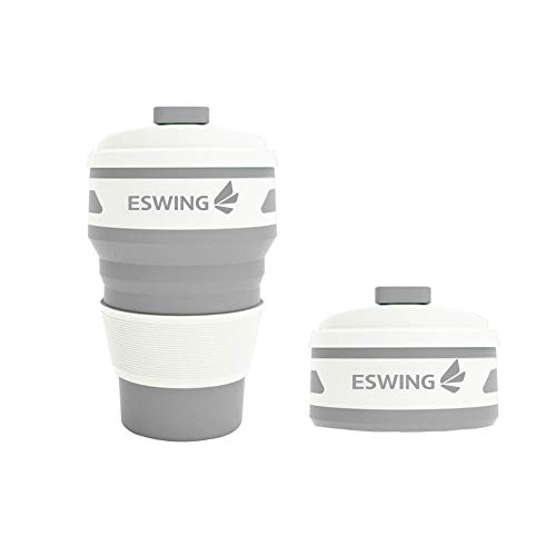 ESWING Collapsible Coffee Mug ,Silica Gel 12oz Drinking Cup with Lid for Water, Coffee, Tea, Soft Drinks, Ideal for Camping, Travel, Hiking, Picnic,Odorless
