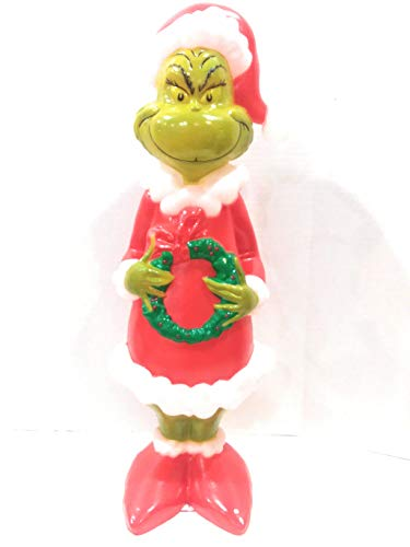 """24"""" Grinch Figure Blow Mold Lawn Yard Christmas Decoration Plastic Light Up Lighted"""