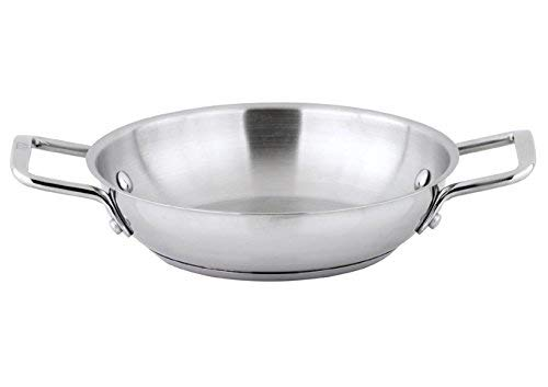 "Winco SSOP-8, 8"" Dia Try-Ply Stainless Steel Omelet Pan with 2 Handles, French Omelette Pan, Egg Stir Fry Pan, NSF"