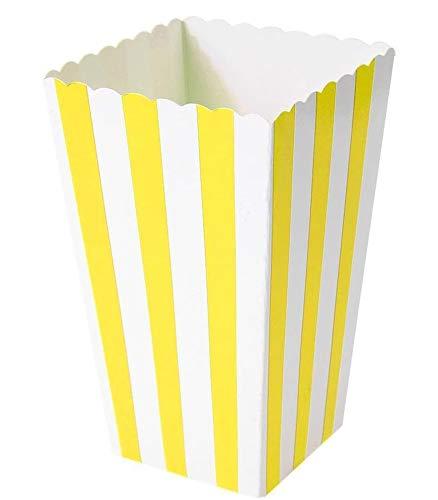 Ouinne 24 Stück Popcorn Boxen, Popcorn Boxes Candy Boxen Streifenmuster Dekoratives Geschirr für Party und Süßigkeiten (Gelb)