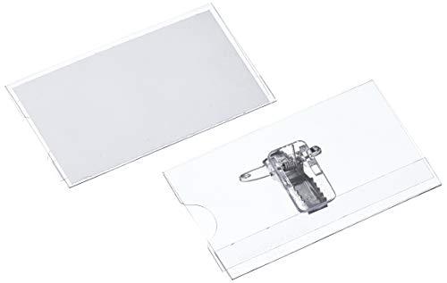 Veloflex - Tarjetero porta-nombre (pinza e imperdible incluidos, lote de 25, 75 x 40 mm) [Importado de Alemania]