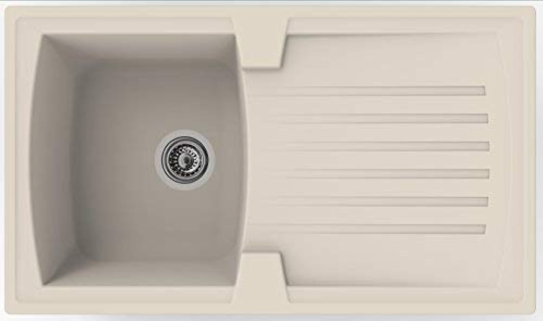 Respekta Mineralite Spüle Küchenspüle Spülbecken Einbauspüle Boston 86 x 50 sandbeige