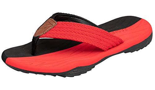 ChayChax Infradito Uomo Scarpe da Spiaggia e Piscina Sportive Beach Sandali Morbide Ciabatte Antiscivolo Pantofole con Gomma Suola,Nero Rosso,41 EU
