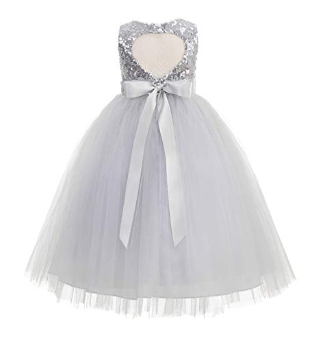Heart Cutout Sequin Flower Girl Dress Girls Tulle Dresses Wedding Bridesmaid Dress 172seq 6 Silver