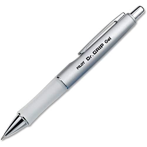 PILOT Dr. Grip Limited Refillable & Retractable Gel Ink Rolling Ball Pen, Fine Point, Metallic Platinum Barrel, Black Ink, Single Pen (36272), 3 Pack