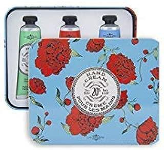 La Chatelaine 20% Shea Butter Hand Cream Tin Gift Set, Popular Gift from France, Organic Argan Oil, Hydrating, Repairing, Paraben Free, Pear, Cinnamon Orange, Amber Cashmere, 3 x 1fl oz