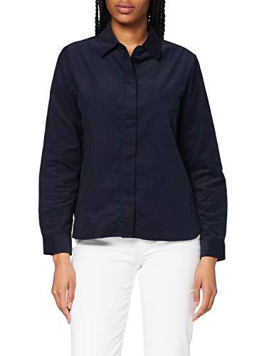 Seidensticker Damen Bluse – Fashion Bluse - Bügelleichte Hemdbluse mit Hemdblusenkragen - Regular Fit – Langarm – 100% Baumwolle - Babycord,Dark Sapphire,36