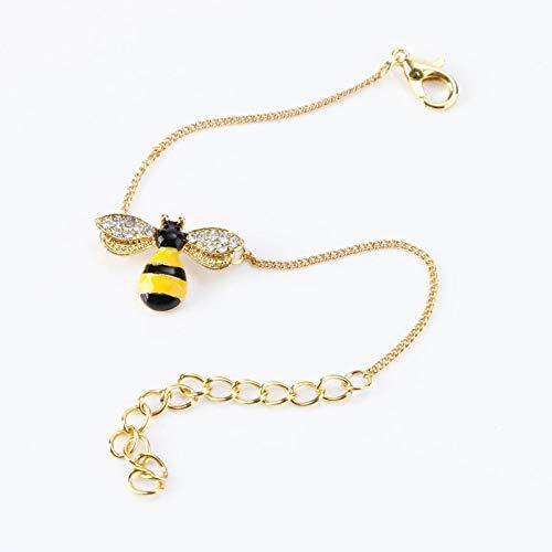 Juego de collar y pendientes de abeja con combinación de diamantes de aleación de colores para damas de honor, novias, cumpleaños, aniversario, joyería para mujeres y niñas