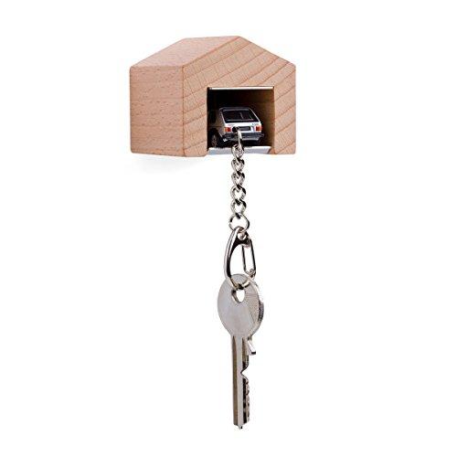 corpus delicti :: Garage mit Kultauto für die Wand - das Design-Schlüsselboard aus Buchenholz und Edelstahl inkl. Modellauto mit Schlüsselanhänger VW Golf I GTI Silber (20.9-39G)