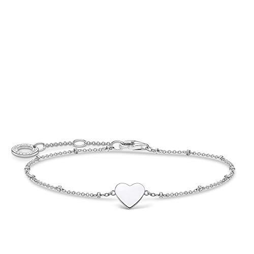 Thomas Sabo Armband Herz mit Kugel silber, 925 Sterlingsilber, 16-19 cm Länge