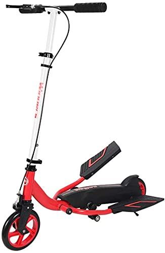 Motorino per Adulti, Scooter a Due Ruote, Adatto per Giovani Adulti, Pieghevole Leggero, Un Piede dello Scooter, Scooter a Pedale Antiscivolo (Colore: Rosso) (Color : White)
