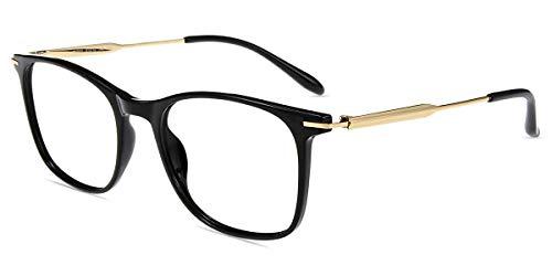 Firmoo Blaulichtfilter Brille Damen ohne Sehstärke Schwarz-Gold, Computer Brille mit Blaulichtfilter Entspiegelt für Herren, Blaulicht UV Schutzbrille Anti Kopfschmerzen,Eckige Brillegestelle