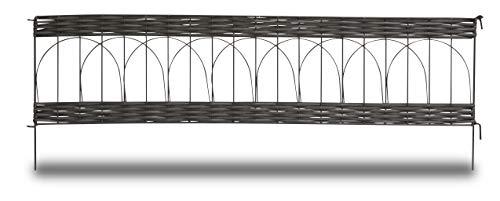 Windhager Beeteinfassung PVC Rattan rund, Steckzaun, Rasenkante, Beetumrandung, Palisade, 35 x 100 cm, anthrazit, 06464
