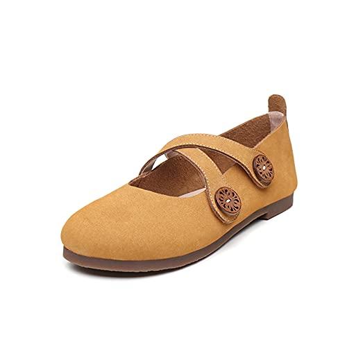 JXILY Ladies Soltery Shoes,Zapatos Piel Cuero Hechos A Mano,Zapatos Abuelita Tacón Velcro Cruzados,Primavera Retro Gran Tamaño Y Verano,Yellow Brown,39