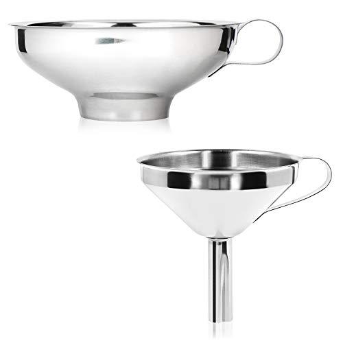 com-four® 2-teiliges Trichter Set aus Edelstahl - Einfülltrichter für Einmachgläser beim Einkochen - Marmeladentrichter mit Einfüllstutzen (02 Stück - Edelstahl Mix)