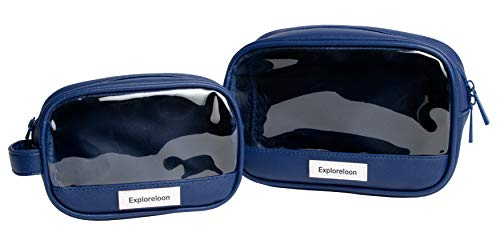 Exploreloon Transparente Kosmetiktasche Transparentes Kulturbeutel-Set aus PU PVC wasserabweisend Windeltasche Organizer Dopp Kit 2 Stück