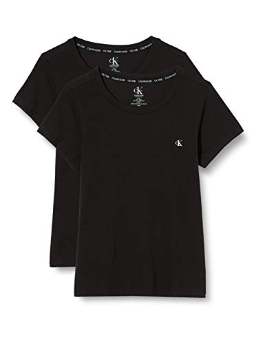 Calvin Klein S/s Crew Neck 2pk Top de Pijama, Negro (Black 001), Large para Mujer