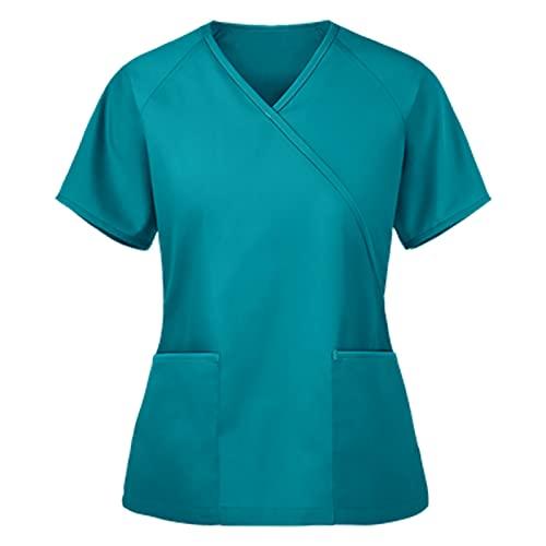 Damen V-Ausschnitt Krankenhaus Schlupfhemd Kurzarm T-Shirts Einfarbig Tasche Mischgewebe Kasack Oberteile Berufsbekleidung Arzt Uniform Arbeitsuniform Krankenschwester Kleidung
