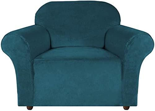 GWDFSU Funda de sofá de Felpa de Terciopelo de Alta Elasticidad, Funda de sofá Suave, Protector de Muebles con Correas Antideslizantes, Protector de sofá Ajustado, Gamuza Suave -Deep_Teal_3_Seater