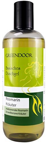 500ml Greendoor Basisches Duschgel Rosmarin, biologisch abbaubar, Natur für Ihre Haut aus der Naturkosmetik Manufaktur, ohne Silikon, ohne Sulfate, ohne Konservierungsmittel, natural