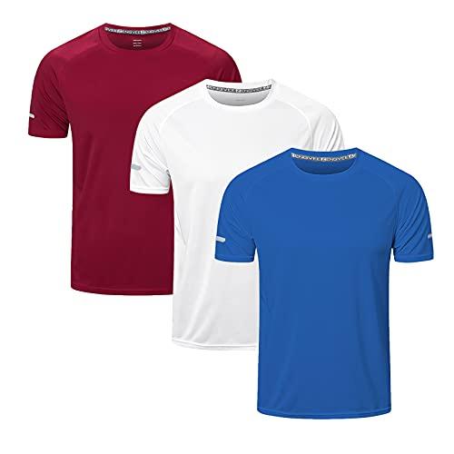 ZENGVEE 3 Pack Gym Shirts Men Short-Sleeve Tops Sport T Shirts Quick Drying Breathable Training Marathon Athletic Base Layers Shirts(520-Red White Blue-L)