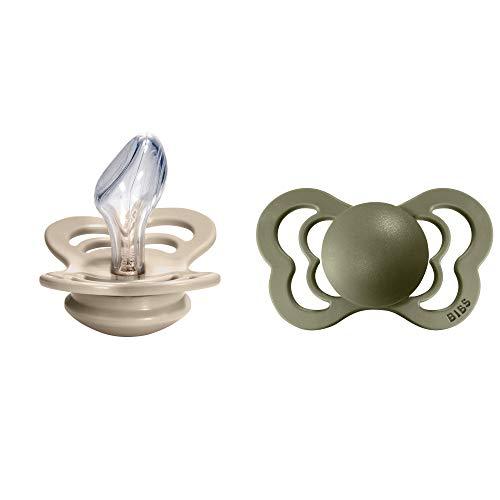BIBS Couture Smoczek, 2 szt, Bez BPA, Anatomiczny kształt gumowej główki. Silikon, Rozmiar 2 (6-18 miesięcy), Vanilla/Olive