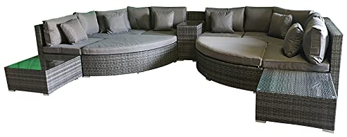 Giardino Santorini 8 Seater Grey Rattan Sofa Set with Armrest Drinks Cooler, 4 Ottomans & Outdoor Furniture Covers | 11 piece Curved Rattan Sofa Set | Conservatory Furniture