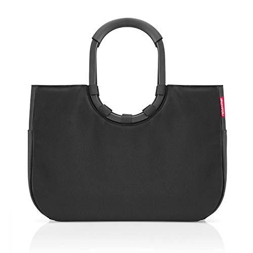 Reisenthel loopshopper L Frame OR7040 Black – Einkaufstasche mit 25l Volumen – wasserabweisend – B 46 x H 34,5 x T 25 cm