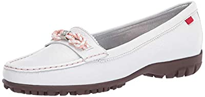 Marc Joseph New York Womens Genuine Leather Made in Brazil Orchard Street Golf Shoe, White Tumbled Grainy, 9.5 M US