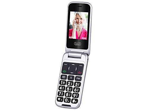 Trevi FLEX PLUS 100 Telefono Cellulare per Anziani a Conchiglia con Doppio Display, Tasti Grandi, Connessione 3G, Funzione SOS, Bluetooth, Fotocamera, Torcia LED, Base di Ricarica