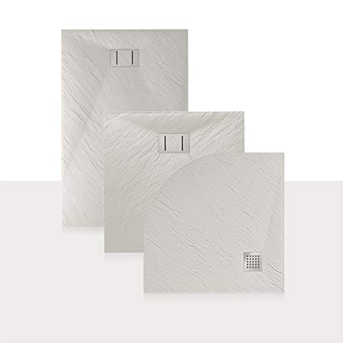 Idralite Duschwanne 90x70x2,6 cm Rechteckig Weiß Stein-Effekt Mod. Blend
