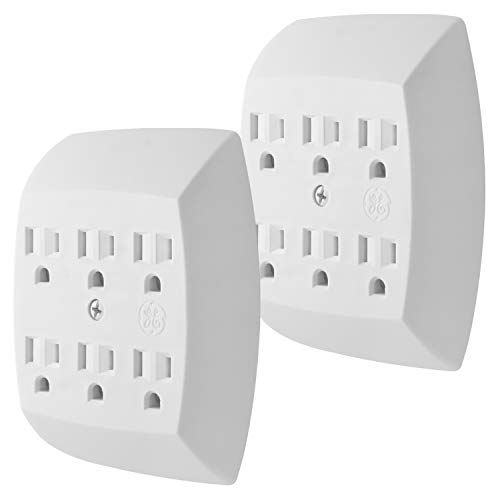 GE 6-Outlet Wall Tap 2 Pack, Grounded Adapter, Charging Station, 3-Prong, Secure Install, UL Listed, White, 46852