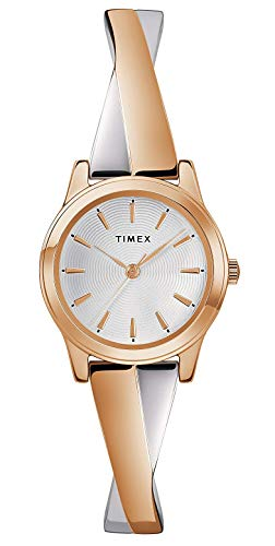 Timex Damen Analog Klassisch Quarz Uhr mit Edelstahl Armband TW2R98900