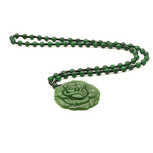 Joyería verde moda Jade hombres tallado amuleto mujeres collar regalos de mano flor china para colgante encanto jadeíta natural