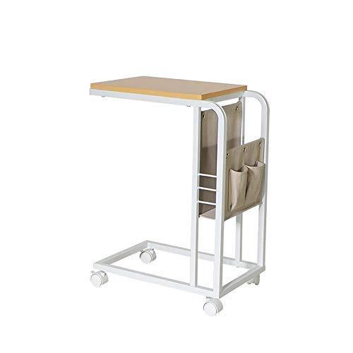 Jcnfa-Tische Mobile Snack End Side C tafel met stoffen mand voor koffie, laptop, tablet, schuif onder de bank bed, wielen met remmen