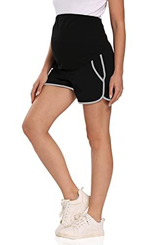 Kegiani Pantaloni corti da donna, per maternità, vita alta, pantaloni corti sopra la pancia, palestra, sportivi Nero M