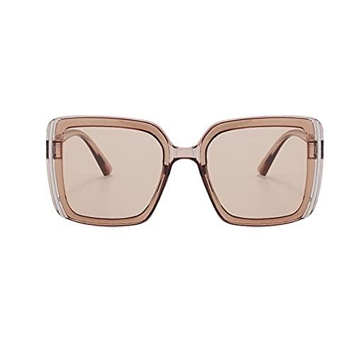 BAYSU Gafas de Sol Metal clásico Vintage Mujeres Gafas de Sol de Lujo de la Marca de Lujo Gafas Mujer conduciendo Gafas Moda Retro Simple Ancho Gafas de Sol (Lenses Color : 04)