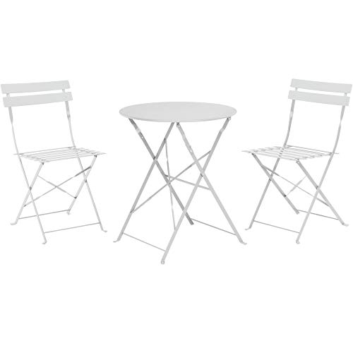 URBNLIVING 3 Piece Outdoor Garden Patio Metal Furniture Foldable Table & Chairs Bistro Set (White)