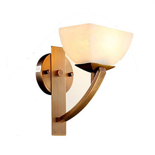 Xinmei - Lámpara de cobre moderna de cristal, para corredor, fácil de atmósfera, para dormitorio, lámpara de mesita de noche, 19 x 29 cm